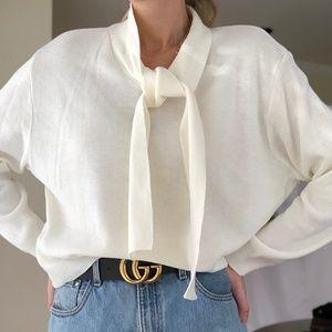 VINTAGE/ necktie boxy knit pullover